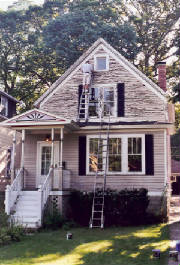 Prepping for exterior painting in Midlothian, IL.